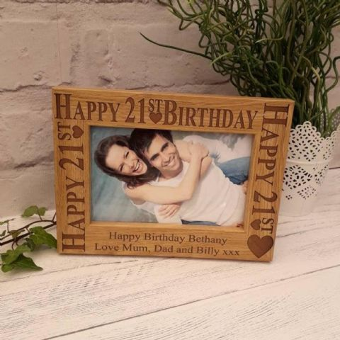 Personalised 21st Birthday Wooden Photo Frame